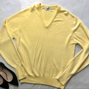 Vintage Christian Dior Yellow V Neck Sweater